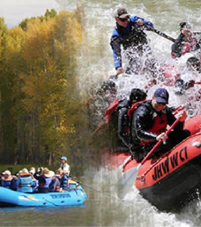 merged image of scenic float trip and rapids river trip