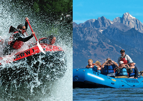 dual image of white water rafting and scenic float trip
